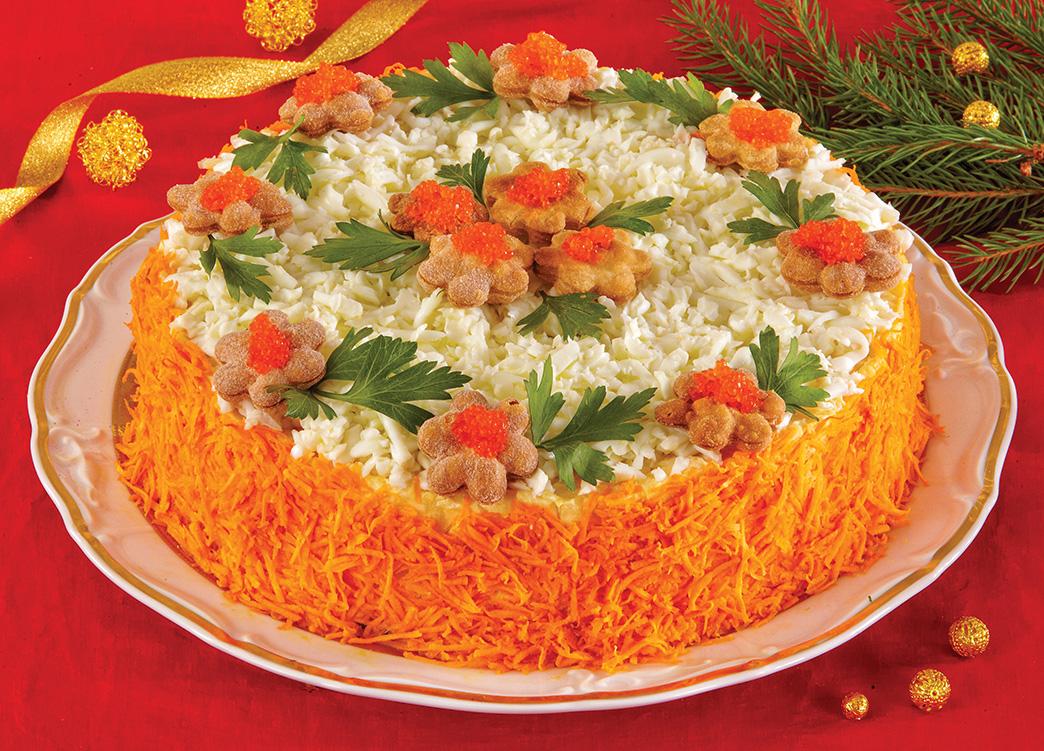 Russian salad with caviar